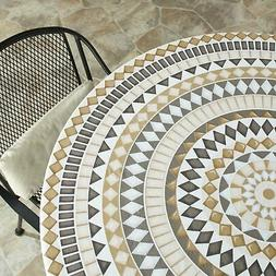 "Custom-Fit Elastic 48"" Round Table Cover for Home and Cateri"