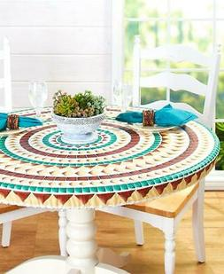 Custom Fit Elastic Table Cover Round or Oval Mosaic Wood Loo
