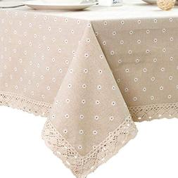 ColorBird Daisy Flower Cotton Linen Tablecloth Macrame Lace