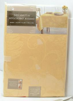 Autumn Vine Damask Tablecloth 60x85 Gold Table Cover Celebra