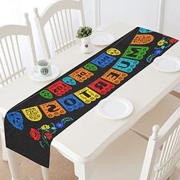 InterestPrint Day of the Dead Polyester Table Runner Placema
