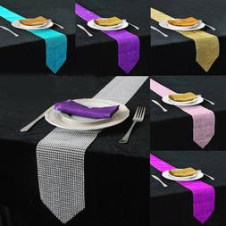 Diamond Crystal Mesh Table Runner Wedding Party Tablecloth T