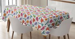 Dinosaur Tablecloth Colorful Kids Pattern Rectangular Table