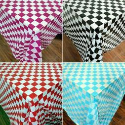 Disposable Tablecloth Rectangle Plastic Plaid Print Table Co