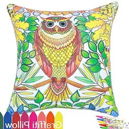 DIY Coloring Pillowcase Fastness Cat Owl Pattern Graffiti Pi