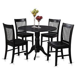 East West Furniture DLNO5-BLK-W 5-Piece Kitchen Table and Ch