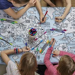 eatsleepdoodle Doodle World Map Tablecloth, Color Your Own T