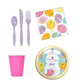 Easter Party Ware Set - Cups Cutlery Napkins Table Cover fnt