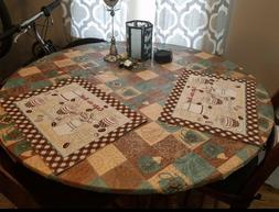 Elastic Edged Flannel Backed Vinyl Fitted Table Cover - GLOB