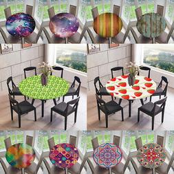 Elastic Edged Waterproof Fitted Table Cover Tablecloths Kitc