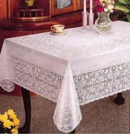 Elegant 100% Embossed White Vinyl Plastic Lace Tablecloth De