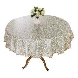 DRAGON SONIC Elegant Round Table Cloth,Waterproof Table Clot