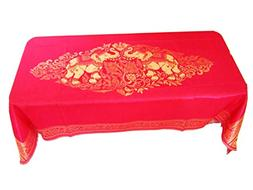 Blue Orchid Elephant Table Cloth Cover Rectangular Embroider