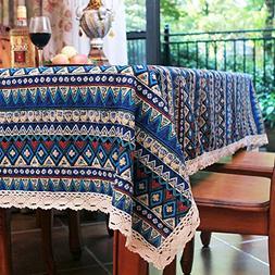 Elome Vintage Square Cotton Linen Lace Bohemian Style Geomet
