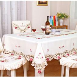 Embroider Floral Satin Fabric Tablecloth Table Runner Kitche
