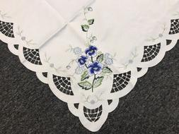"Embroidered Blue Rose 45x45"" Square Tablecloth Night Stand E"