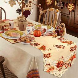 embroidered fall table runner handmade maple leaves