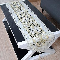 yazi Embroidered Floral Table Runner And Dresser Scarf Cover