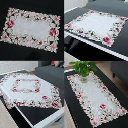 Embroidered Hollow Rose Tablecloth Doily Table Cover Wedding