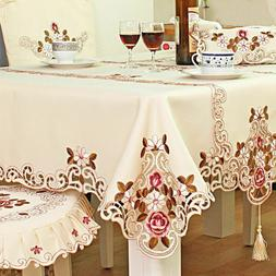 Embroidered Tablecloth Home Table Decor Lace Rose Cutwork Re