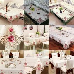 Embroidered Tablecloth Satin Fabric Dining Table Cloth Prote