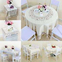 Light Beige Rose Flower Embroidered Lace Table Cover Tablecl