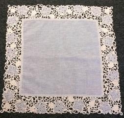 "Embroidery Beige Organza Fabric Embroidered 36x36"" Square Ta"