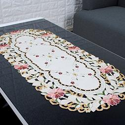 yazi Embroidery Cutwork Floral Tablecloth Oval Tea Table Pro