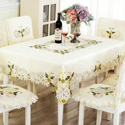 Embroidery Lace Dinner Tablecloth Chair Cover Set Wedding De