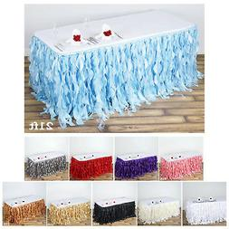 Enchanting Curly Willow Taffeta Table Skirt Wedding Decorati