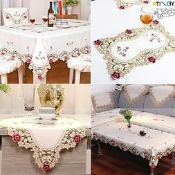 Europe Embroidery Flower Satin Fabric Tablecloth Table Runne