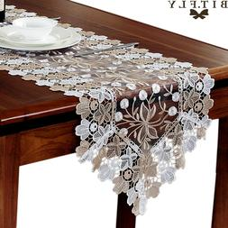 European Rectangle Lace Floral Table Runner Embroidery Table