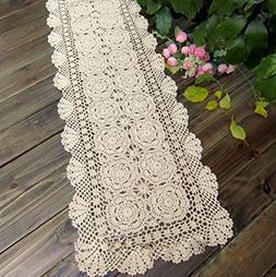 TideTex European Rural Style Handmade Crochet Lace Table Run