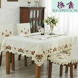 European Rustic Embroidered Tablecloth Rectangle Square Tabl
