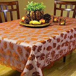Fall Decoraions Maple Leaves Tablecloth Brown Rectangle Lace