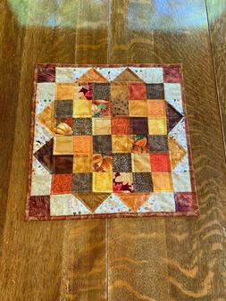 Fall Quilted Table Topper Handmade Gold Orange Brown Beige P