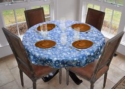 """LAMINET Fanciful Flowers Vinyl Table Cover Drop Up to 70"""" Di"""