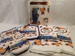Farmhouse Autumn Fall Blue Truck Kitchen  Towels Oven Mitt P