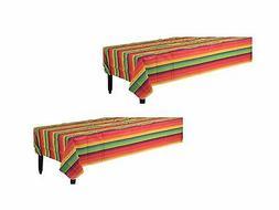 Set of 2 Amscan Fiesta Flannel-Backed 52in x 90in Vinyl Tabl