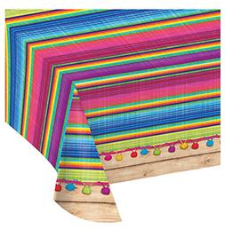 """Fiesta Party Table Cover 54"""" x 102"""" Mexican Disposable Plast"""
