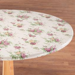 "FITTED Vinyl Flower Floral Table Cover 40-44"" 45-56"" Round 4"