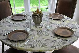 Fitted Vinyl Table Cover Flannel Back Cloth Kitchen Coffee P