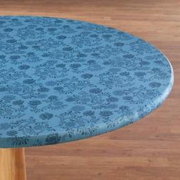 FITTED Vinyl Table Cover Floral Elasticized Round Oblong Yel
