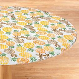 FITTED Vinyl Table Cover Pineapple Elasticized Round Oval/Ob