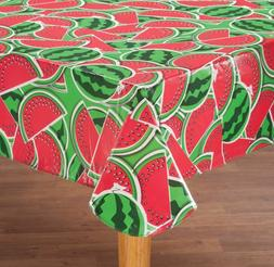 "FLANNEL BACK TABLE COVER 60""x120""  WATERMELONS by Home-Style"