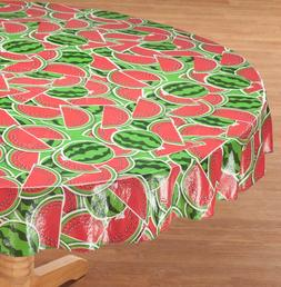 "FLANNEL BACK TABLE COVER 70"" ROUND  WATERMELONS by Home-Styl"