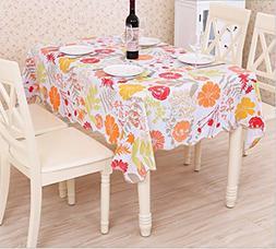 EffortLife Flannel Backed Vinyl Tablecloth WaterProof/Oil-pr