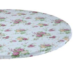Floral Round Elasticized Tablecloth Table Cover Flower Vinyl