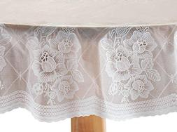 """Floral Vinyl Lace Table Cover 54"""" Round"""