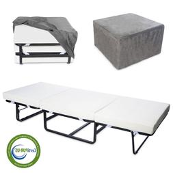 Milliard Folding Bed Ottoman Single Size with Grey Suede Cov